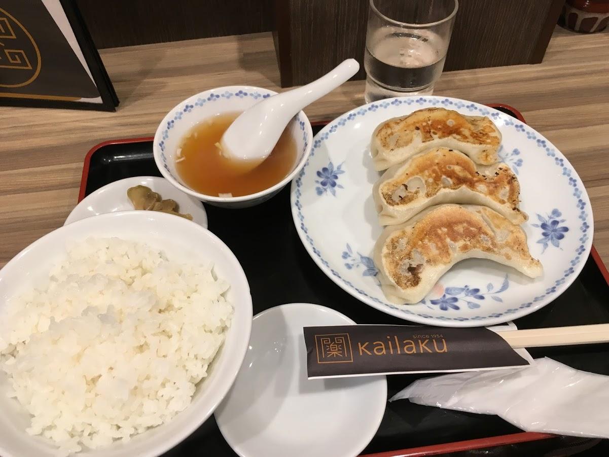 【美味しい池袋の餃子】開楽 ジャンボ餃子定食640円 どでかいジューシー餃子が魅力