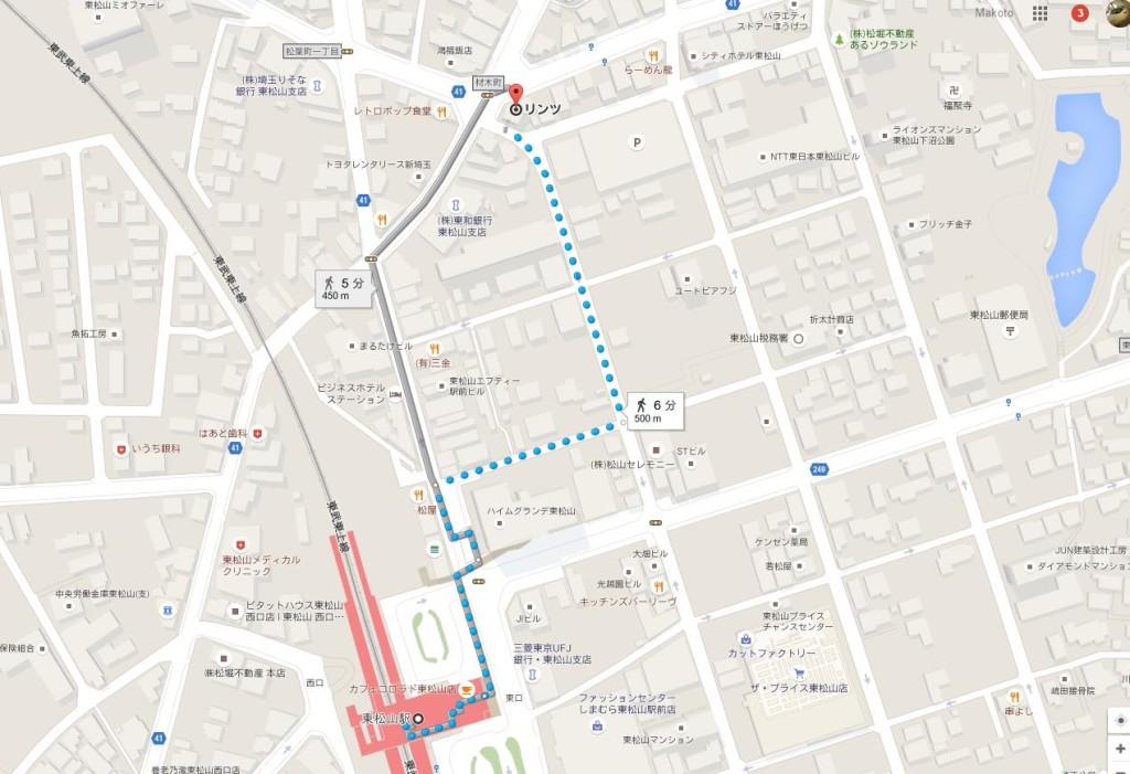 駅から歩いた場合の経路です。